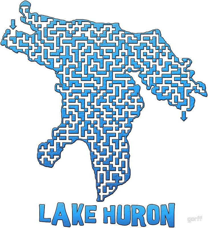 Lake Huron Outline Maze Labyrinth Sticker By Michael Reed