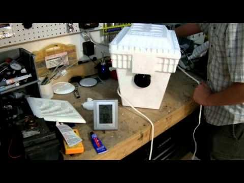Homemade Air Conditioner  DIY Project  Worlds Cheapest AC!  Do you know someone that needs AC in this crazy heat?  This is a very simple DIY basic science video that will teach you how to make a fast and cheap Homemade Air Conditioner.  This AC is encased in a foam cooler and uses ice for the cooling with a fan to move the cooled air into your h...