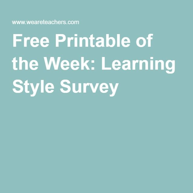 Free Printable of the Week: Learning Style Survey