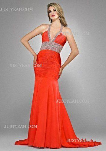 Mermaid Halter Sleeveless Chiffon Evening Dresses