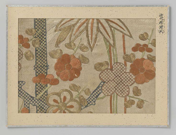 Anonymous | Textielfragment, Anonymous, 1741 - 1744 | Textielfragment, borduursel en druk van bloemen en planten op beige achtergrond.