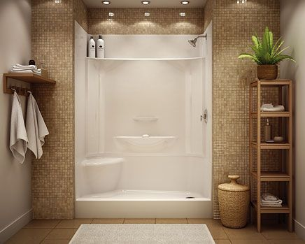 Low maintenance shower stall - prefab actual stall with pretty tile surrounding