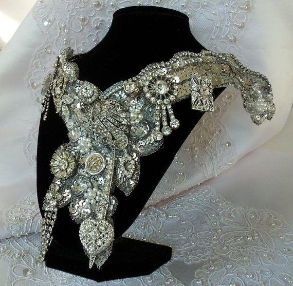 Rhinestone# bridal #necklace# white# silver# vintage couture# bib# wedding necklace# Hopscotch22.etsy.com