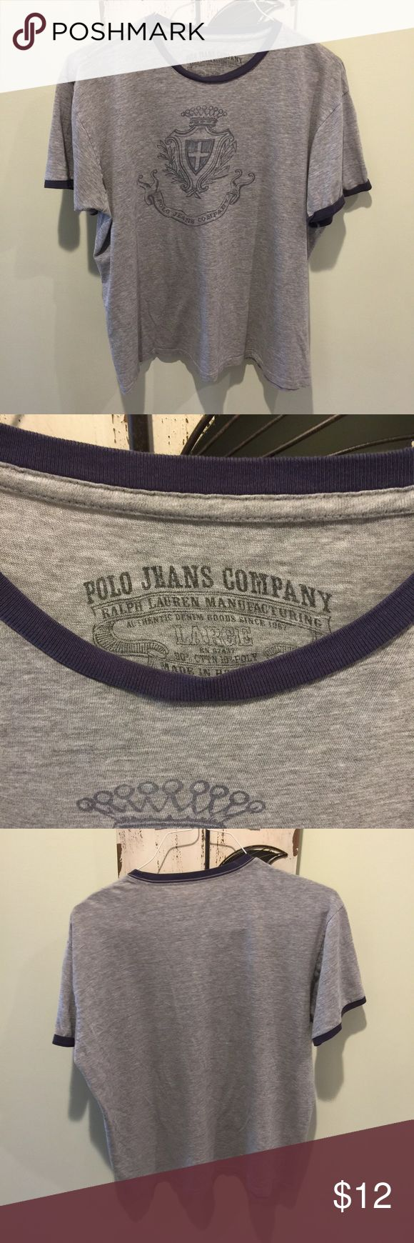 Men's Polo Jeans Company Gray T-Shirt Ralph Lauren Men's Polo Jeans Company Ralph Lauren Gray T-Shirt Size Large with a blue graphic on the front. Polo Jeans Company Shirts Tees - Short Sleeve