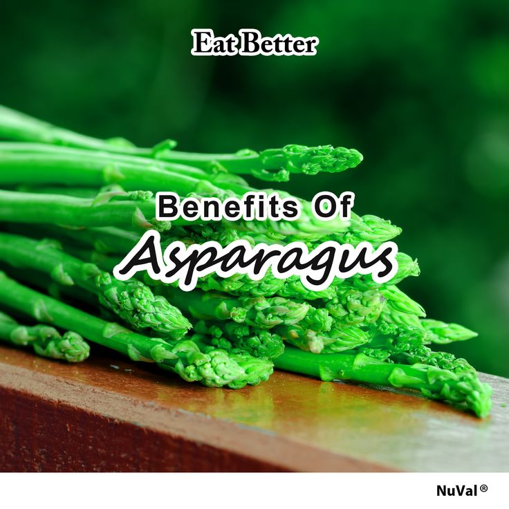 Five health benefits of asparagus (Nuval 100): fights cancer, aids in digestion, regulates blood sugar, maintains a healthy heart, and prevents osteoporosis. www.nuval.com