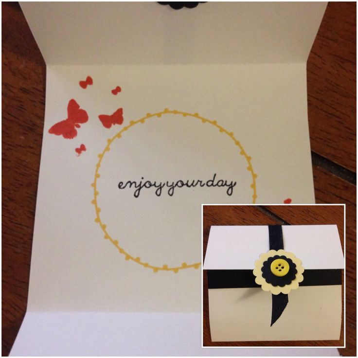 A cute 8.9X8.9 card, very vanilla, black card stock, 2 stamps, left over ribbon and a button...simplicity