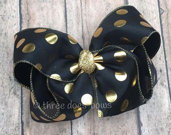 """6""""+ negro y oro el arco del pelo - 6 +"""" negro y oro arco - negro y oro lazo de lunares -X grandes arcos del pelo - oro y negro pelo arcos 7 """"arcos"""