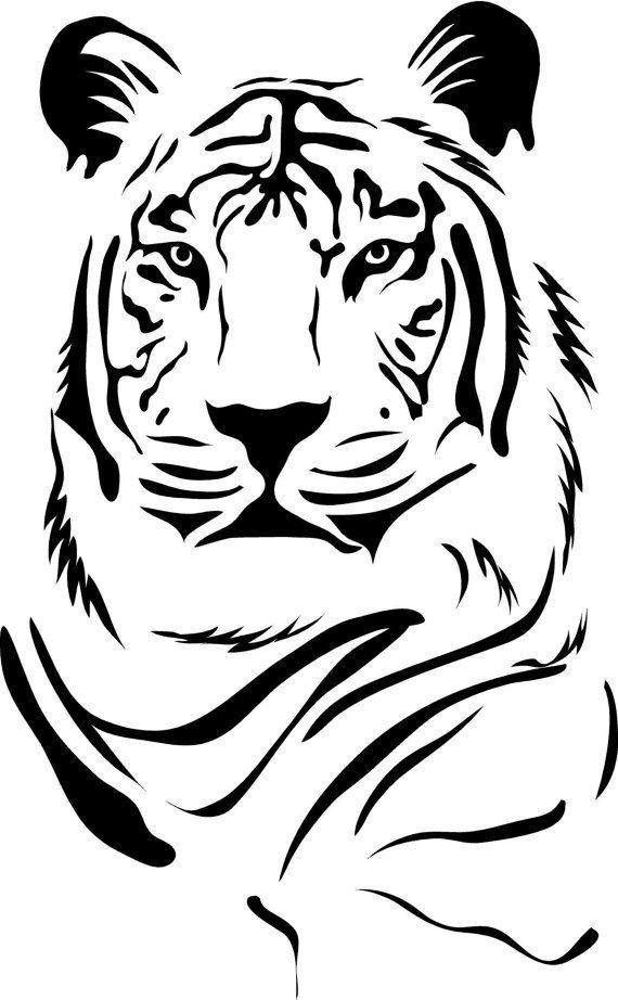 Tiger Portrait Vinyl Lettering animal Decal wall words graphics Home decor bedroom itswritteninvinyl. via Etsy.