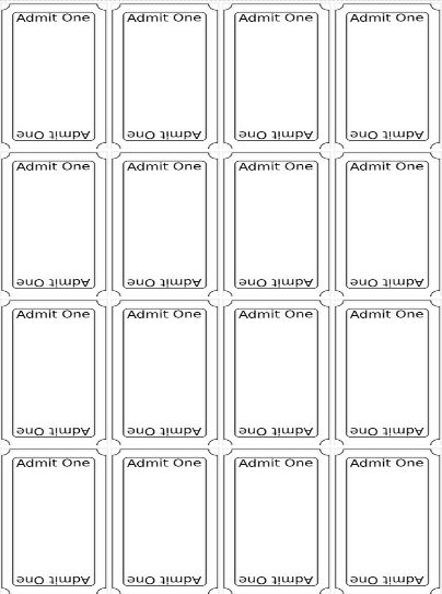 Printable Ticket Template Free Blank Raffle Tickets Free