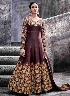 Sonorous Brown Zari Work Art Silk Floor Length Anarkali Suit