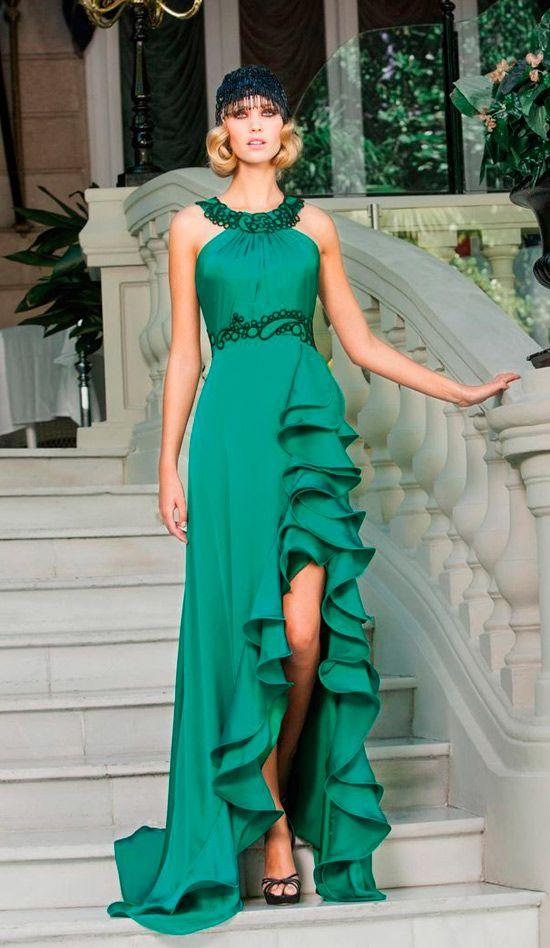 Vestidos de noche color verde petroleo