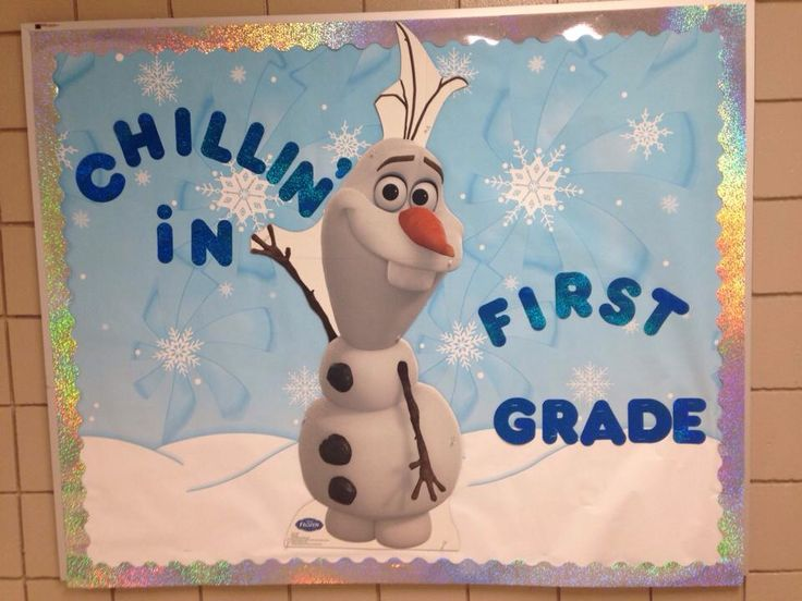 """Frozen themed bulletin board. Could change this to say; """"chillin' in the library"""""""