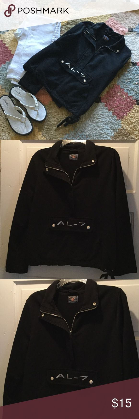 🎁 Pre-Black Friday Sale 🎁🏍 Moto Style Pullover Cool 3/4 zip front top with kangaroo pockets and drawstring hem American Living Tops Sweatshirts & Hoodies