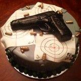 Cool Custom Design Birthday Cake for gun lover or police officer.