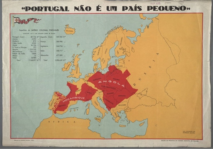 "landofmaps:    ""Portugal is not a small country."" This map comparing Europe with former Portuguese colonies was used during the dictatorship to raise the spirits of the population."