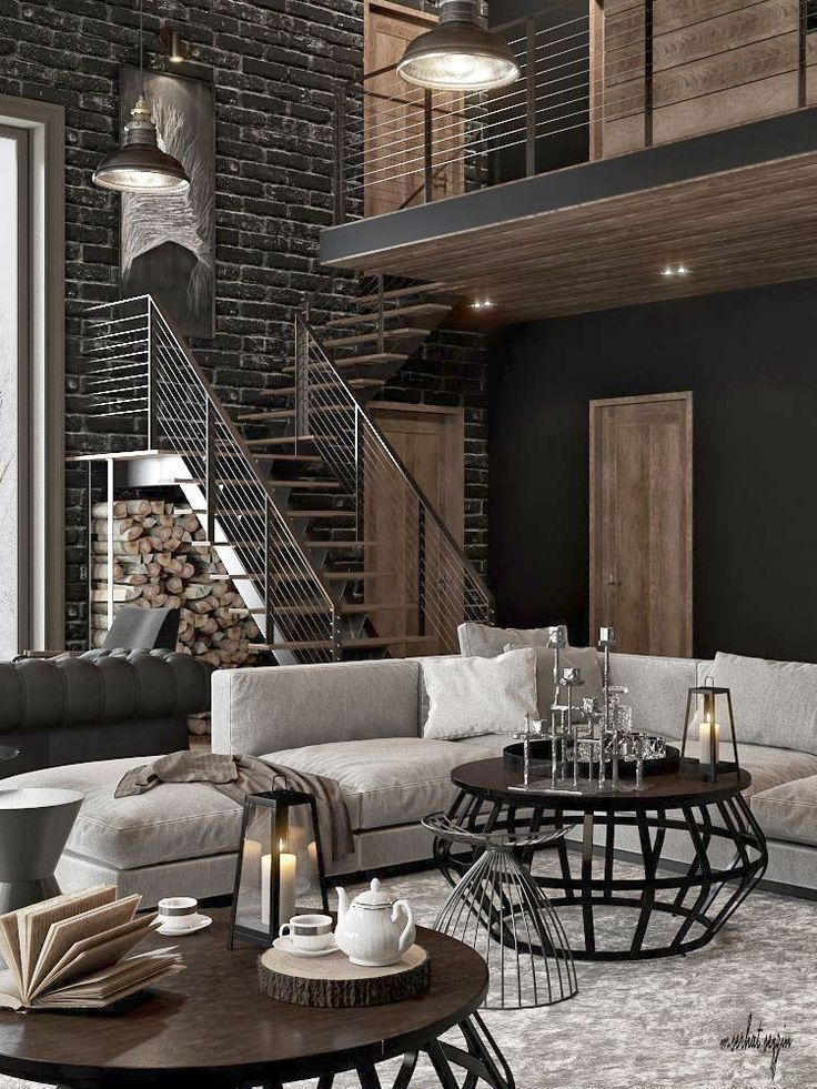 Industrial Living Room Idea With Wood Flooring And Exposed Hvac Pipes Industrial Decor Living Room Industrial Living Room Design Modern Industrial Living Room
