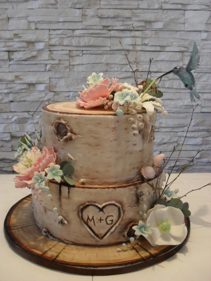 rustic birch wedding cake by timea - http://cakesdecor.com/cakes/257688-rustic-birch-wedding-cake