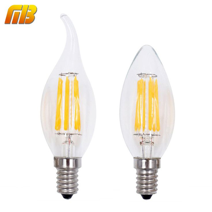 DIPIMPIN Filamen Lilin Lampu E14 220 V 2 W 4 W 6 W C35 Edison Bulb Retro Antique Vintage Style Dingin Putih Hangat putih