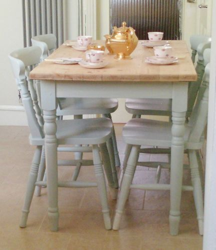Wooden Farmhouse Table And 4 Chairs Hand Painted In Laura Ashley Light Duck Egg