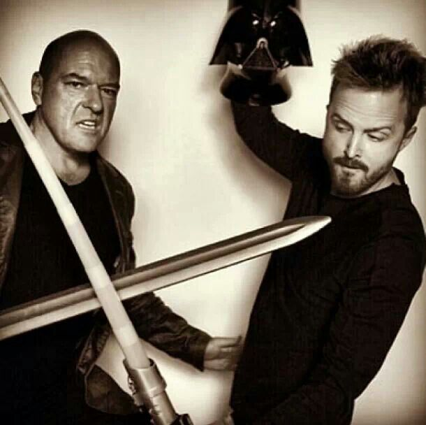 Breaking Bad, Jesse Pinkman (Aaron Paul) and ?? (??), swords, tv series, photo b/w.