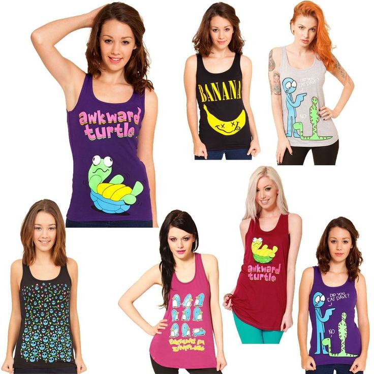 Flip Flop And Fangs Ladies Vest Tops Turtle Banana Dave Penguins Cosplay SALE