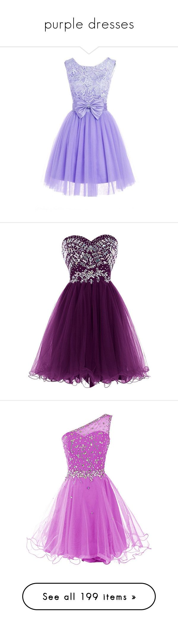 """purple dresses"" by megsjessd99 ❤ liked on Polyvore featuring dresses, bridesmaid dresses, purple homecoming dresses, short bridesmaid dresses, lace cocktail dress, prom dresses, short dresses, sweetheart prom dresses, tulle dress and purple dress"