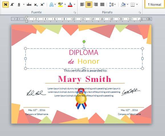 diploma certificado editable word
