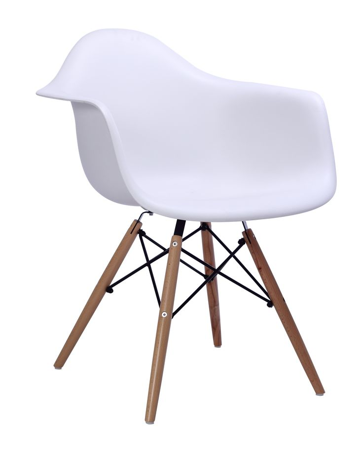 The warm wooden base adds a touch of warmth to the white polypropylene seat of the Maseratti Dining Chair.  Cornerstone Home Interiors. $175.00