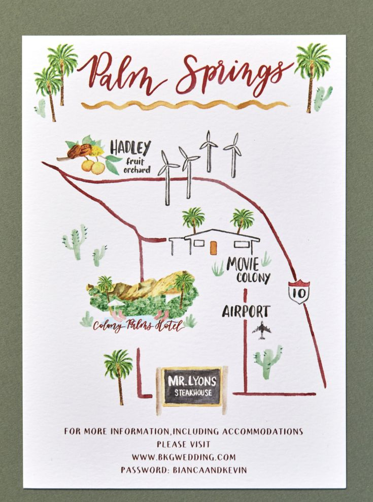 Map of Palm Springs, CA by Katie Fischer Design.