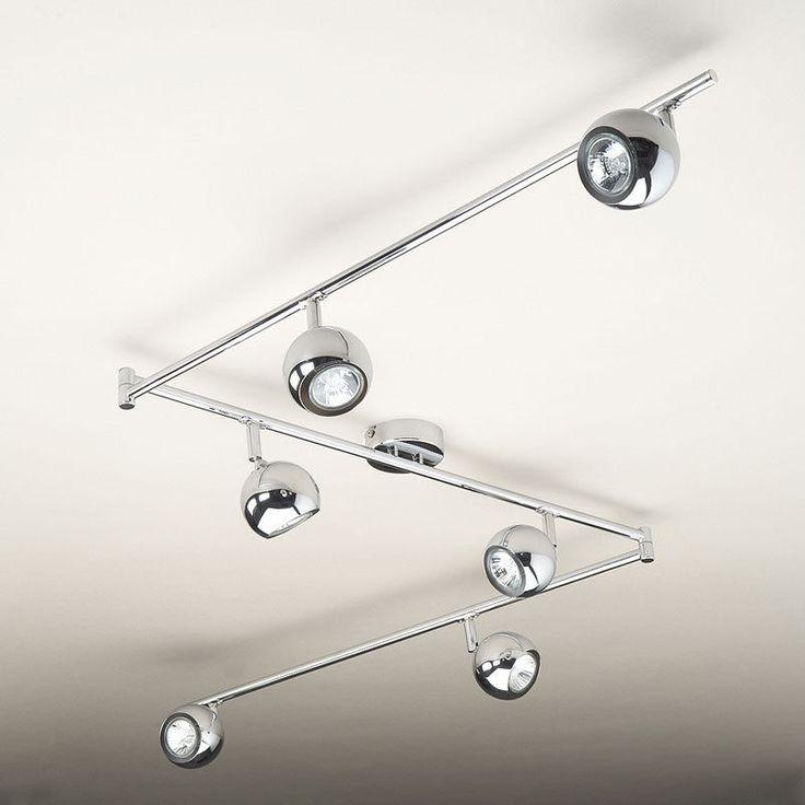Large Modern Chrome 6 Way Kitchen Ceiling Spot Light Spotlight Lighting  Lights