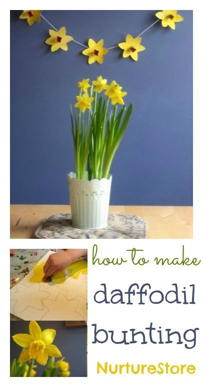 Spring crafts :: beautiful daffodil bunting--- could alternate flowers and triangles for a more delicate look to a traditional bunting