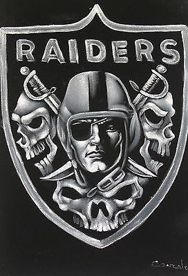 Fantastic *Oakland Raiders* Skull Logo Oil Painting on Black Velvet Art