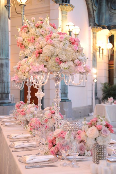 Elegant pink green and white wedding decor with crystal accents | Photo: Unique Design Studios