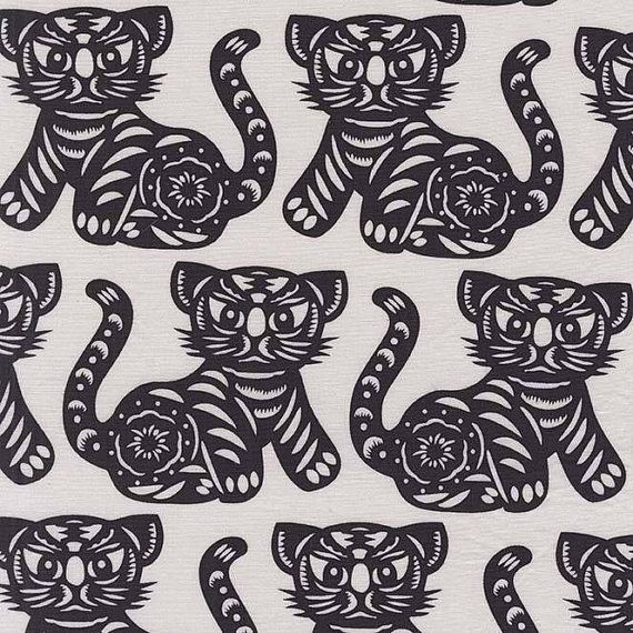 "Cat Fabric ~ Asian Cats ~ Black and White ~ ""Growl"" by Thomas Paul ~ Michael Miller Fabrics ~ Sold by the Half Yard"