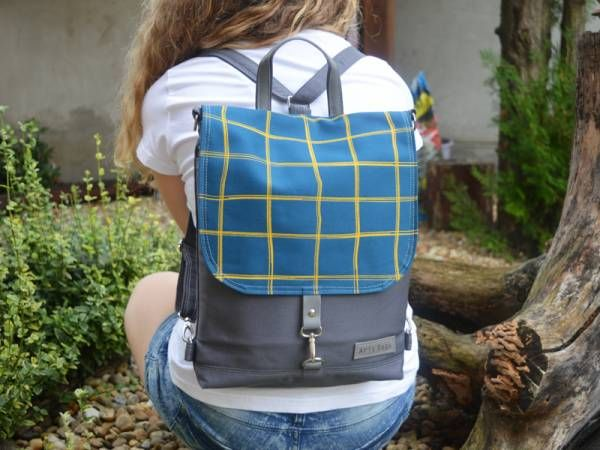 Handmade Canvas Backpack - Checked Design