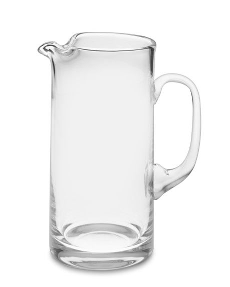 I love the lip on this pitcher; it ensures that whatever is in it doesn't spill all over the sides-very effective!  Tall Glass Pitcher- Williams Sonoma