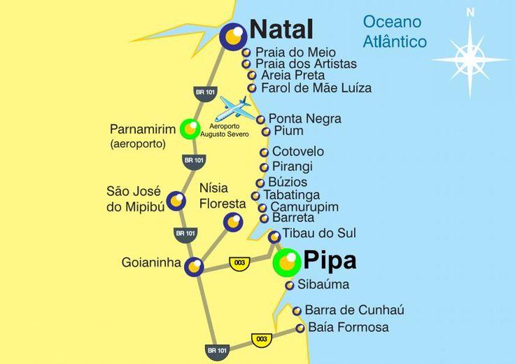 Mapas da Praia da Rio grande do Norte - Natal Pipa - Brasil