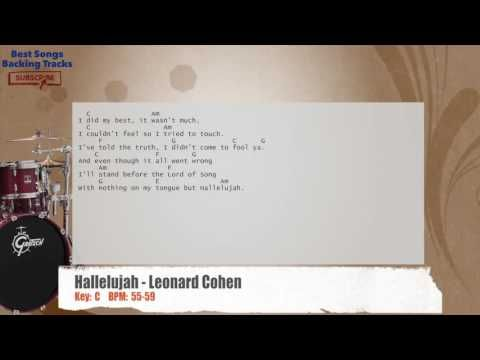 Hallelujah - Leonard Cohen Drums Backing Track with chords and lyrics