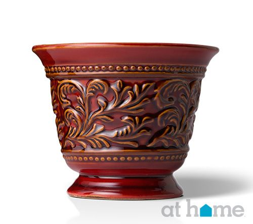 This more traditional #planter in a deep red is the perfect accessory to complement a colorful, yet traditional motif.