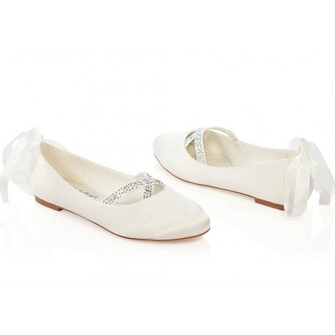 Jenny By G Westerleigh Ivory Or White Flat Wedding Occasion Shoes