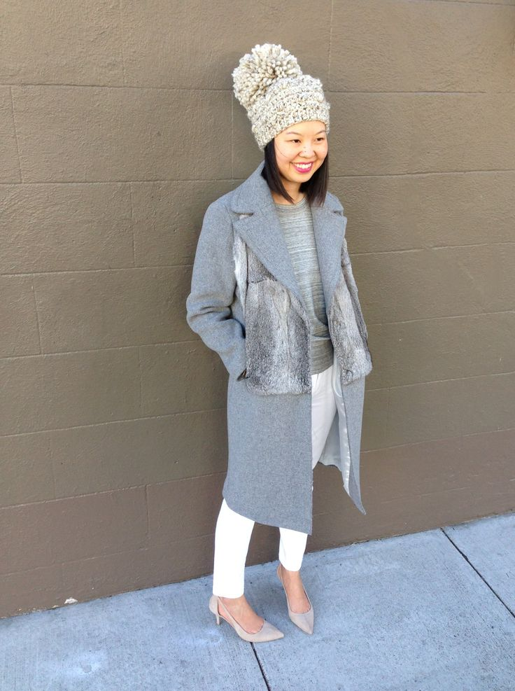 man she can rock a beanie! // shades of grey: sandro magnifique coat, white madewell jeans, grey sweatshirt, stepcat bobble hat in oatmeal, and alexander wang nude kitten heels