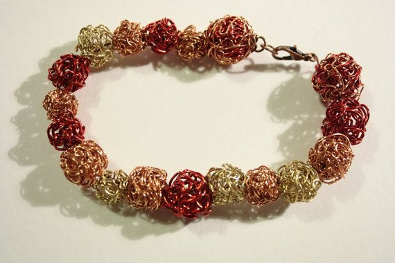 Red & Gold Copper Wire Twist 8 inch bracelet - £12.50 with FREE Delivery!