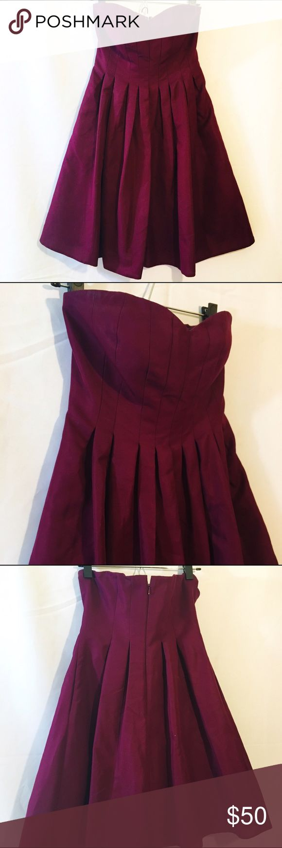 J. CREW burgundy strapless flared cocktail dress Super cute cocktail dress burgundy purple with structured bust. Like new condition. J. Crew Dresses