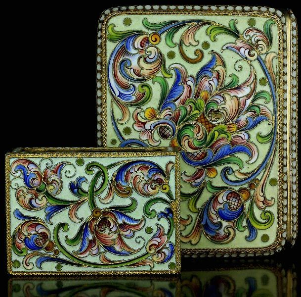 Antique Russian Cloisonne Enamel Silver Cigarette Case and Match Box Holder found on Ruby Lane