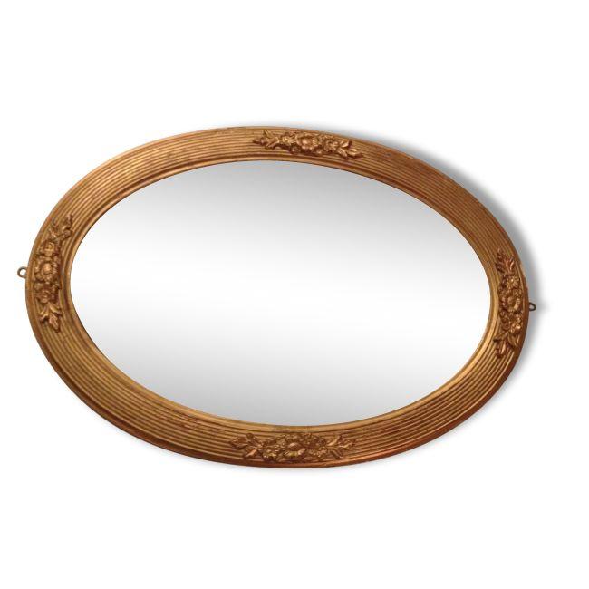 miroir ovale vintage moulures et cadre en bois verre et cristal dor dans son jus. Black Bedroom Furniture Sets. Home Design Ideas