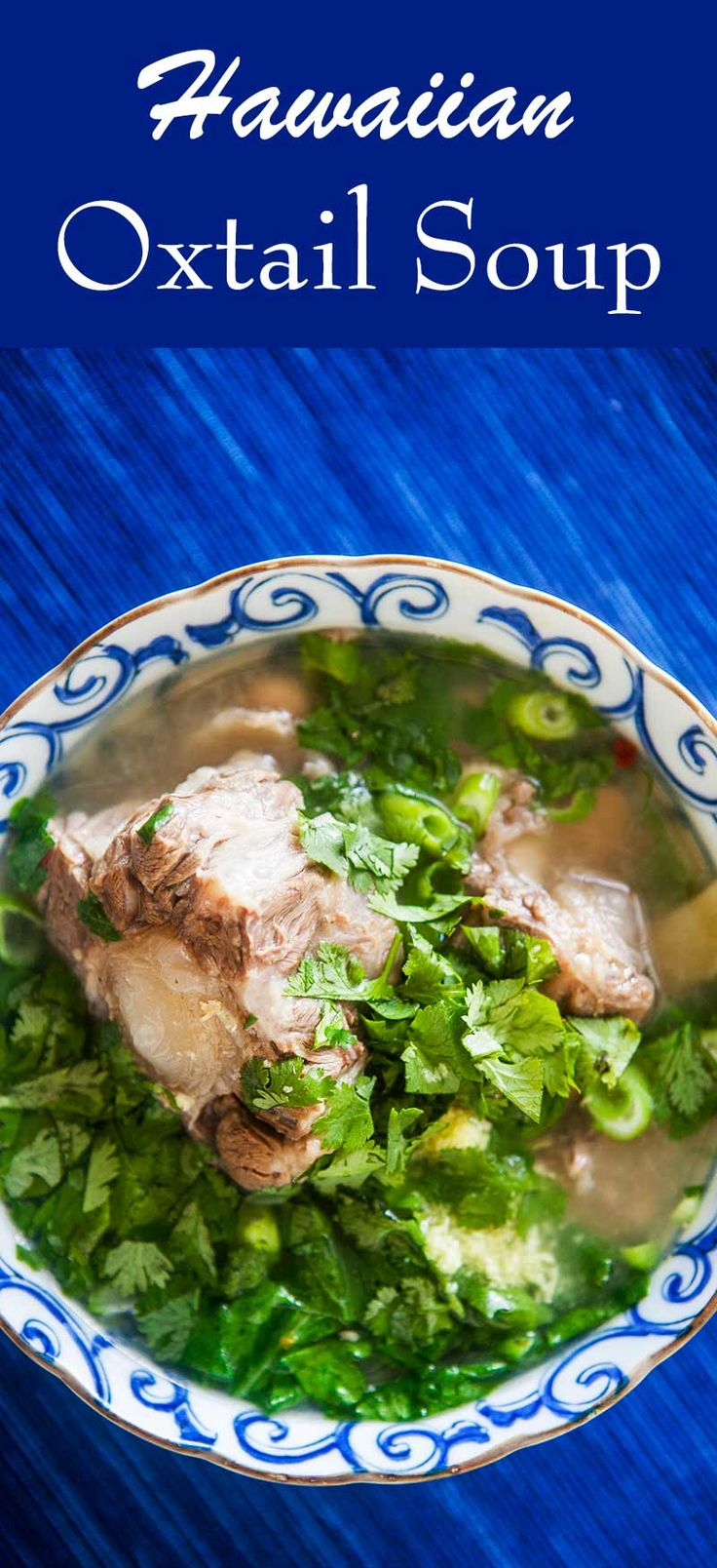 I love this Hawaiian Oxtail Soup! The oxtails are slowly cooked to produce their own broth, with ginger, anise, orange peel, peanuts, chili, mustard greens, onions, and cilantro.