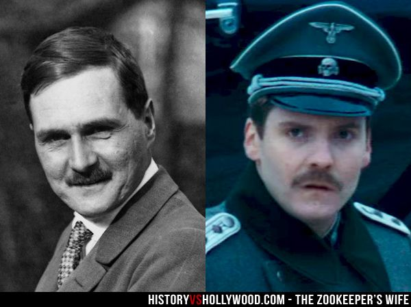 The real Lutz Heck and Daniel Bruhl as Heck in The Zookeeper's Wife movie. Learn about the real Heck here: http://www.historyvshollywood.com/reelfaces/zookeepers-wife/