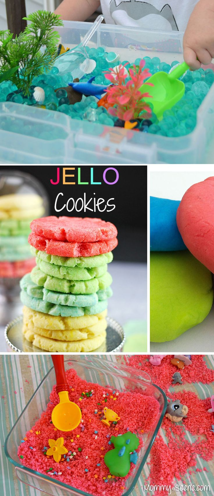 6 Fun Summer Kids Activities, water bead discovery boxes, Jello cookies, homemade sugar sand and more!