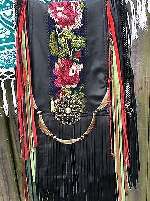 Ручная работа черная кожаная сумка бахрома хиппи богемное винтажные крючком Розы любовь кошелек B. радость