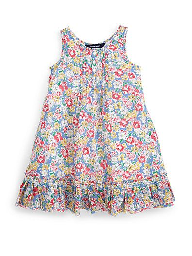 Ralph Lauren toddler boho floral dress This lightweight drop-waist dress is made from soft cotton jersey and features charming lace trim.•Ruffled crewneck •Sleeveless •Button-front •Pintucked bodice •Side on-seam pockets •Ruffled hem •Fully lined •Cotton •Machine wash